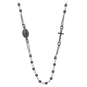 Rosary choker Saint Rita smoky black in 925 sterling silver s1