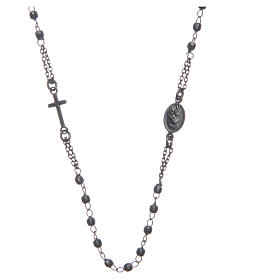 Rosary choker Saint Rita smoky black in 925 sterling silver s2
