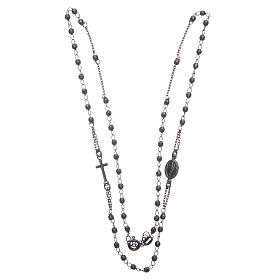 Rosary choker Saint Rita smoky black in 925 sterling silver s3