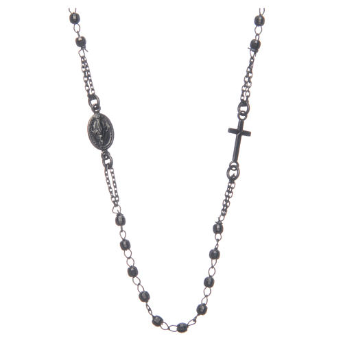 Rosary choker Saint Rita smoky black in 925 sterling silver 1