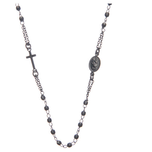 Rosary choker Saint Rita smoky black in 925 sterling silver 2
