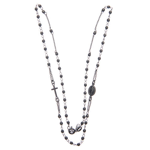 Rosary choker Saint Rita smoky black in 925 sterling silver 3