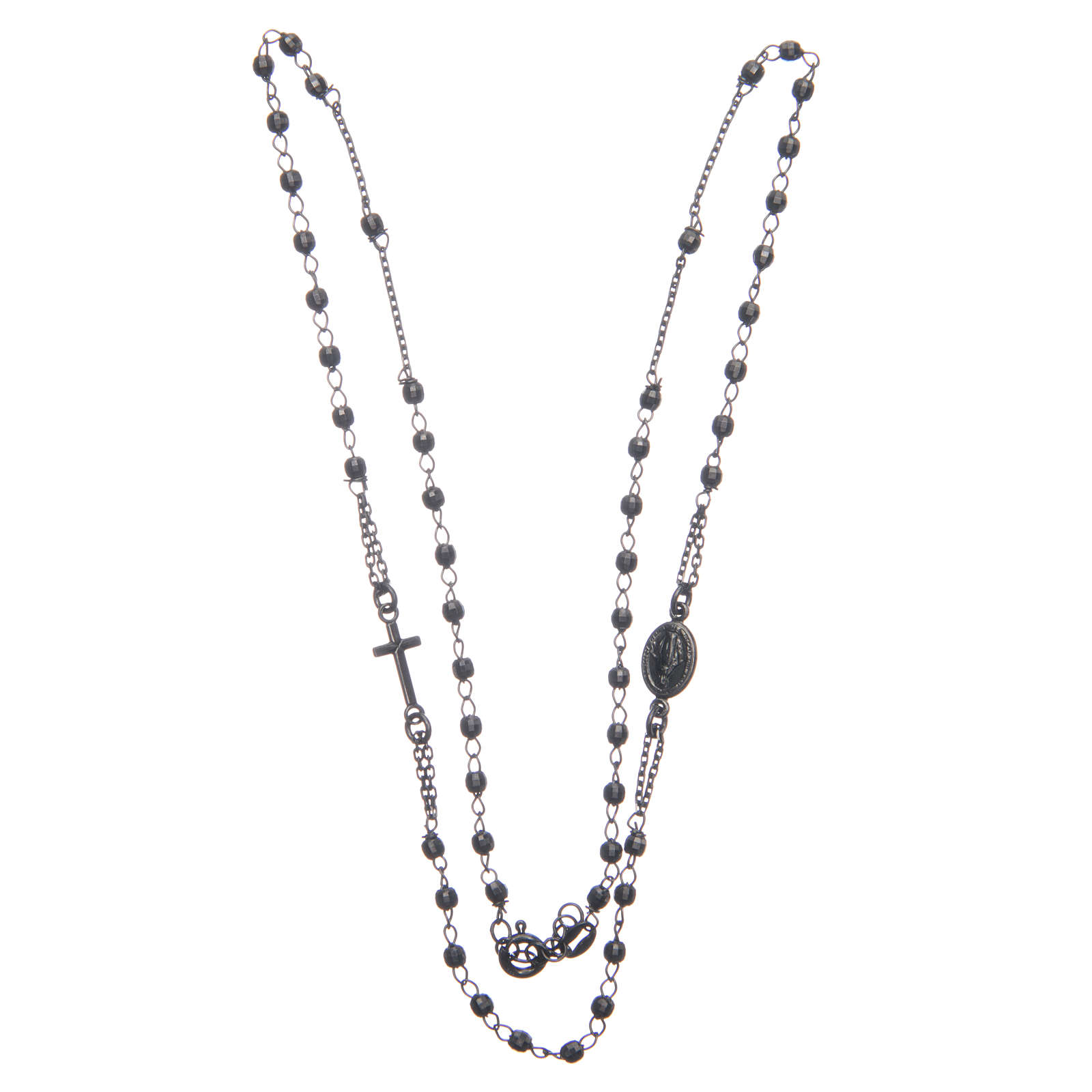 Rosario gargantilla negro gris Santa Rita plata 925 4