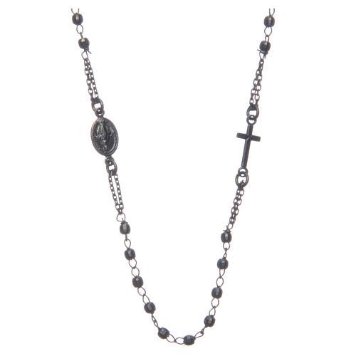 Rosario gargantilla negro gris Santa Rita plata 925 1