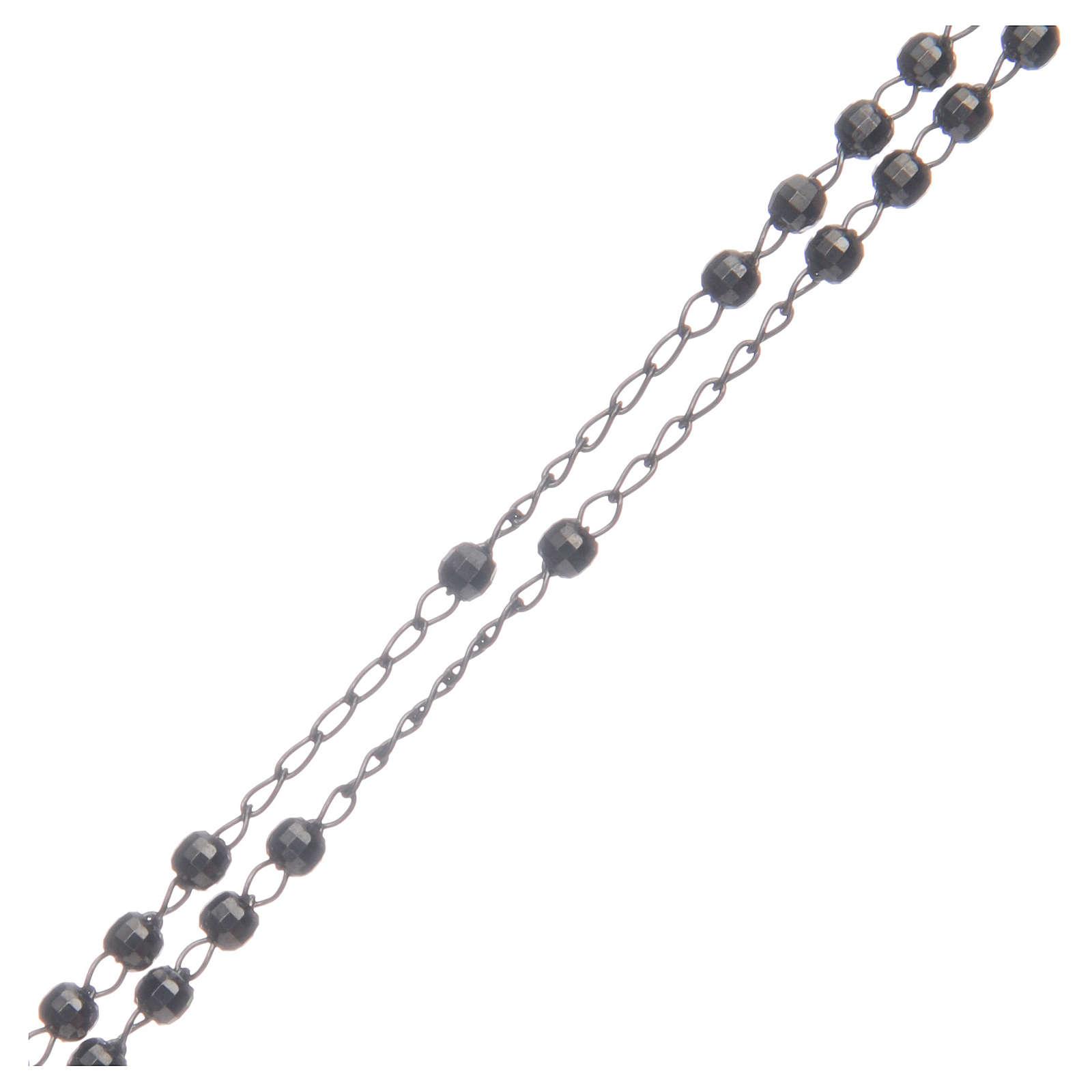 Classic rosary choker Saint Rita smoky black in 925 sterling silver 4