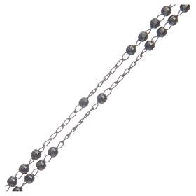 Classic rosary choker Saint Rita smoky black in 925 sterling silver s3