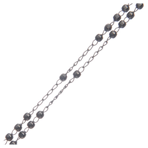 Classic rosary choker Saint Rita smoky black in 925 sterling silver 3