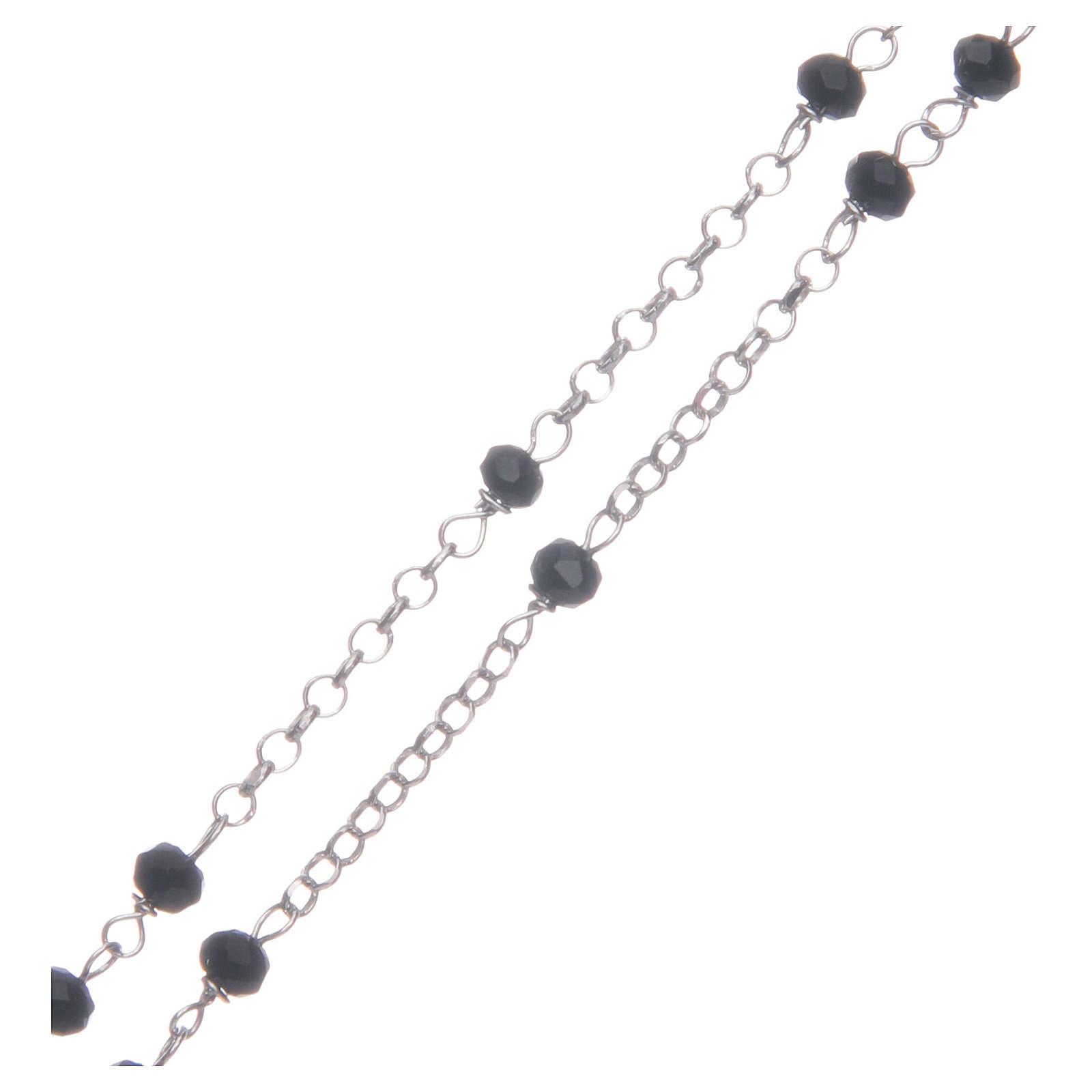 Rosario classico girocollo Santa Rita nero argento 925 4