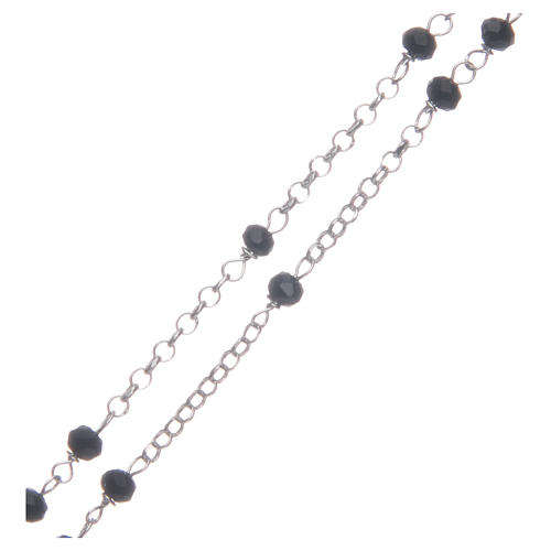 Rosario classico girocollo Santa Rita nero argento 925 3