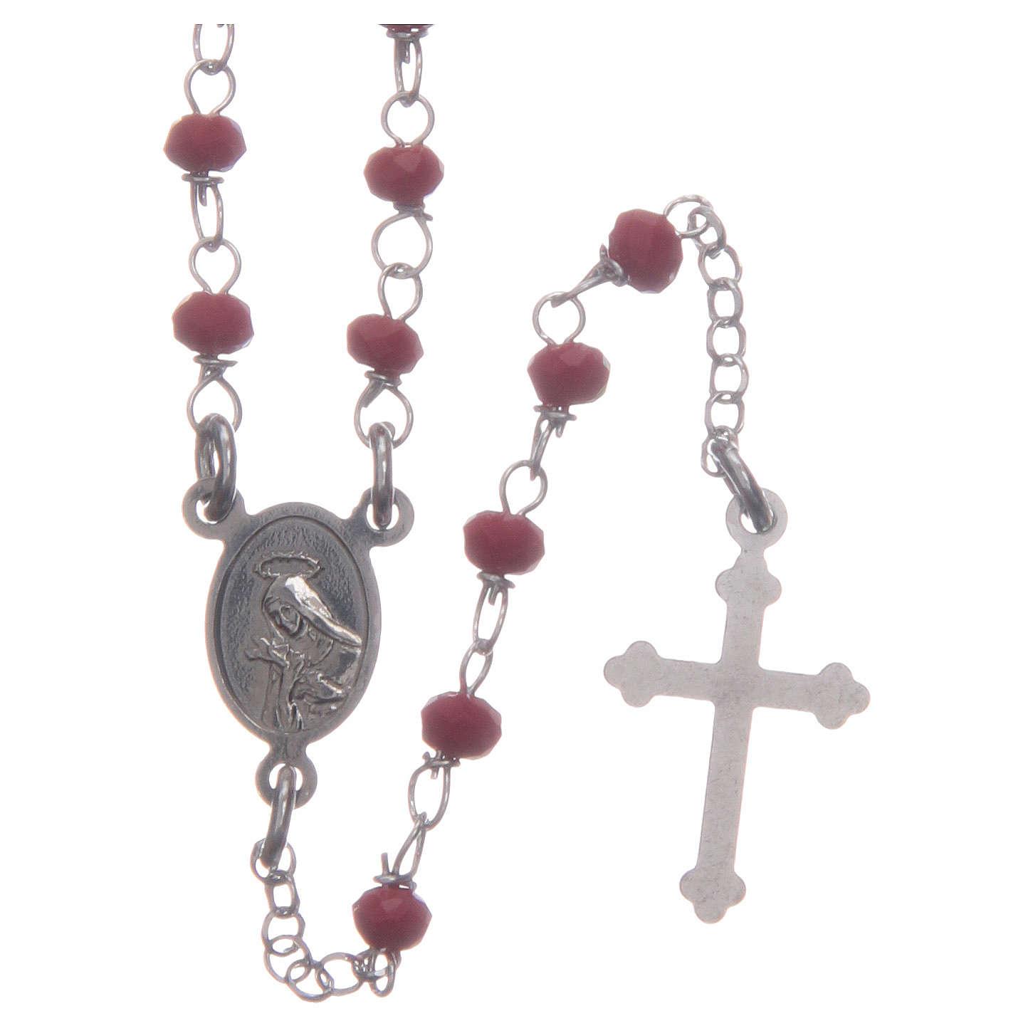 Rosario classico girocollo Santa Rita rosso argento 925 4