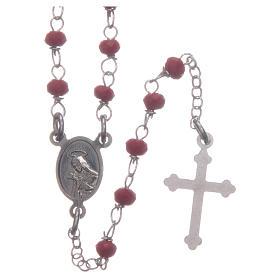 Rosario classico girocollo Santa Rita rosso argento 925 s2