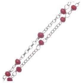 Rosario classico girocollo Santa Rita rosso argento 925 s3