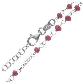 Rosario classico girocollo Santa Rita rosso argento 925 s4