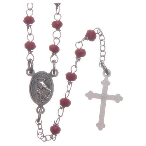 Rosario classico girocollo Santa Rita rosso argento 925 2