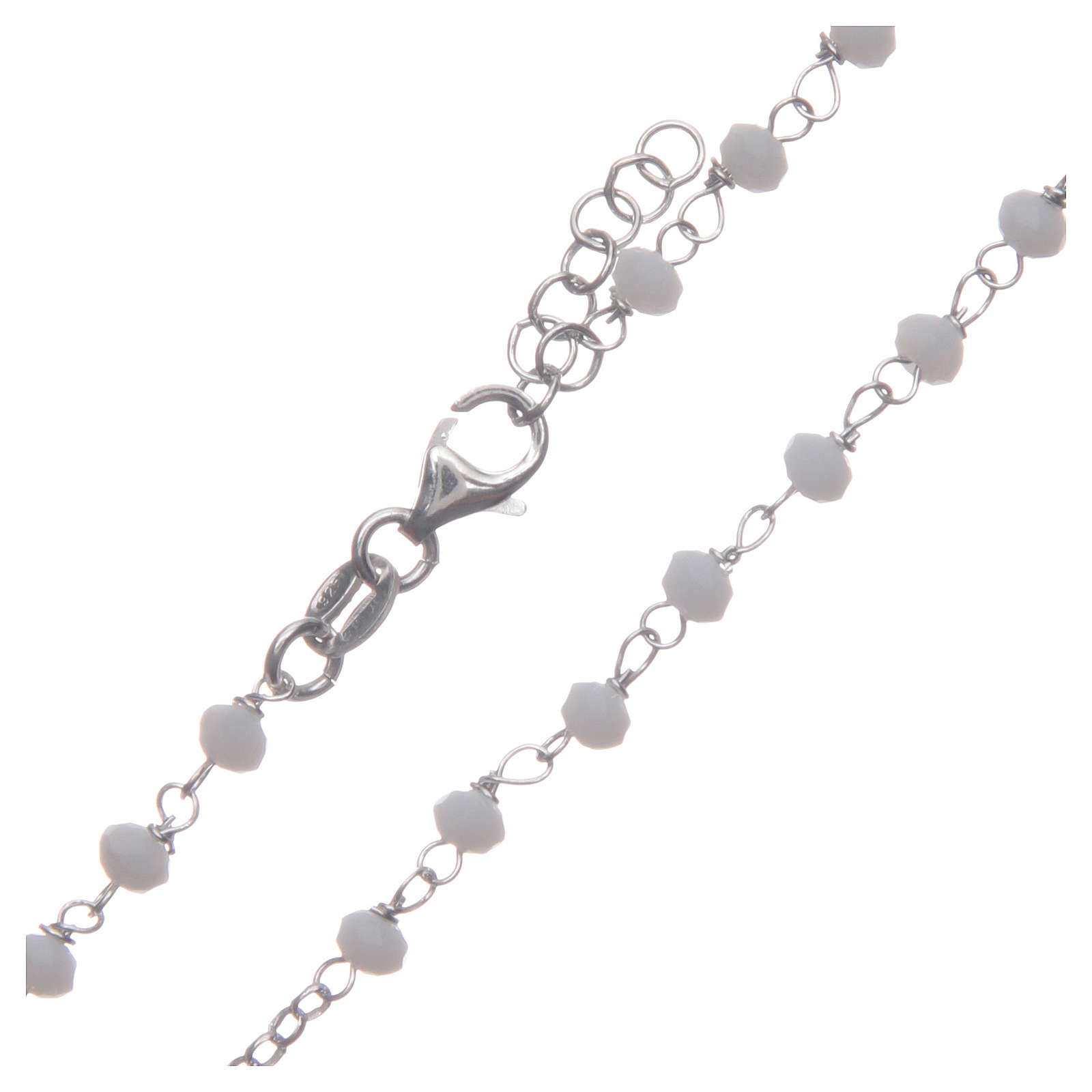 Rosario classico girocollo Santa Rita bianco argento 925 4
