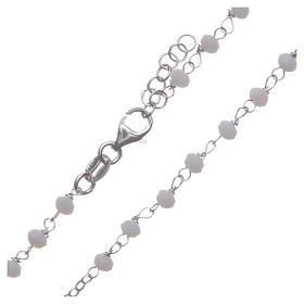 Rosario classico girocollo Santa Rita bianco argento 925 s4