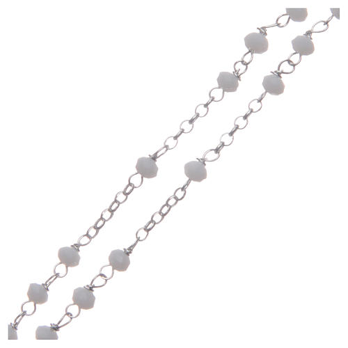 Rosario classico girocollo Santa Rita bianco argento 925 3