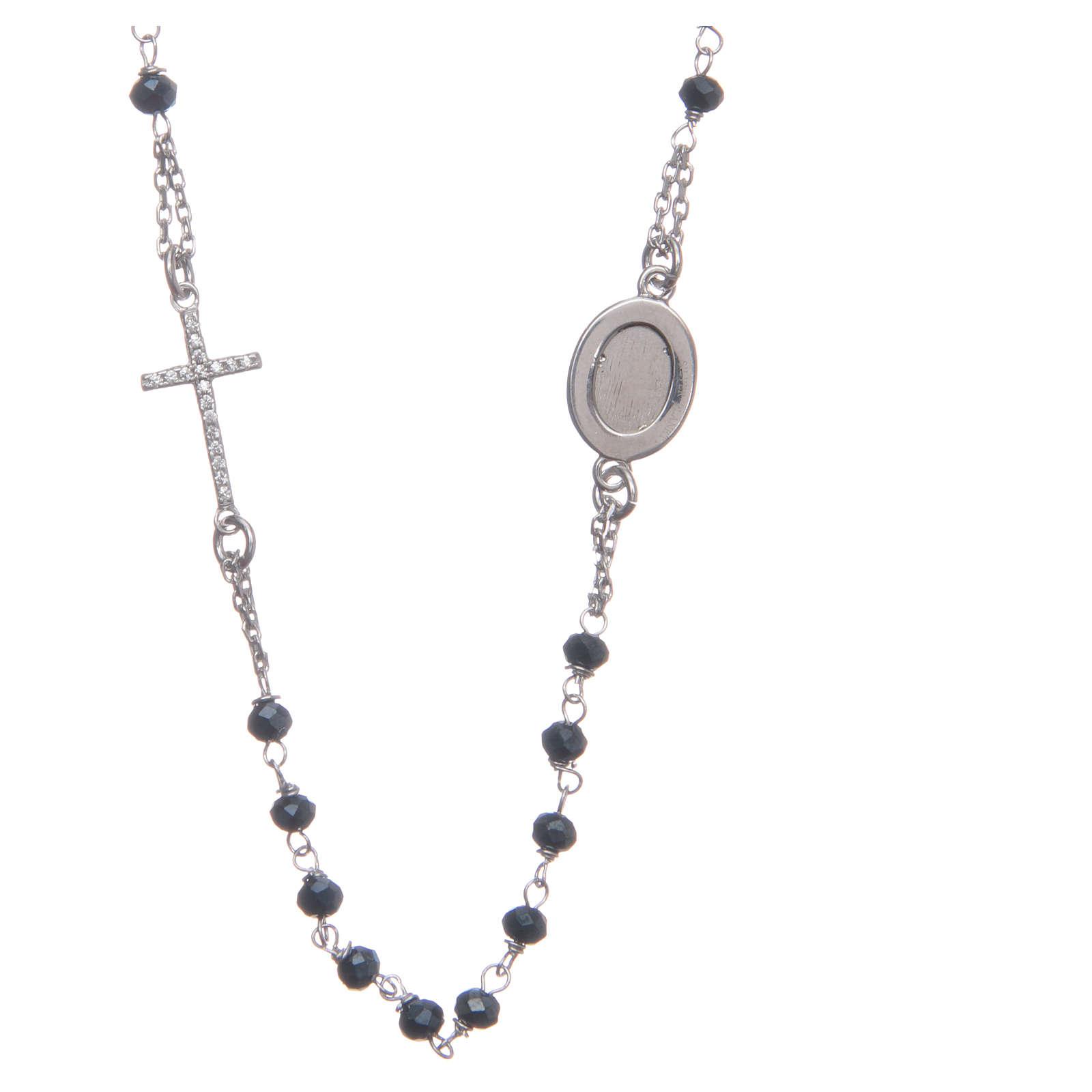Rosario girocollo Padre Pio blu zirconi bianchi argento 925 4