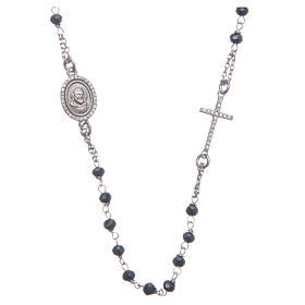 Rosario girocollo Padre Pio blu zirconi bianchi argento 925 s1