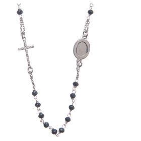 Rosario girocollo Padre Pio blu zirconi bianchi argento 925 s2
