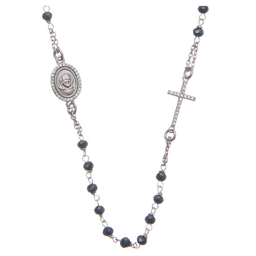 Rosario girocollo Padre Pio blu zirconi bianchi argento 925 1
