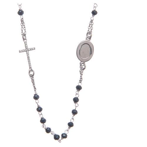 Rosario girocollo Padre Pio blu zirconi bianchi argento 925 2