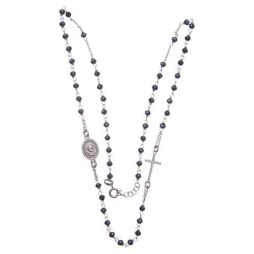 Rosario girocollo Padre Pio blu zirconi bianchi argento 925 3