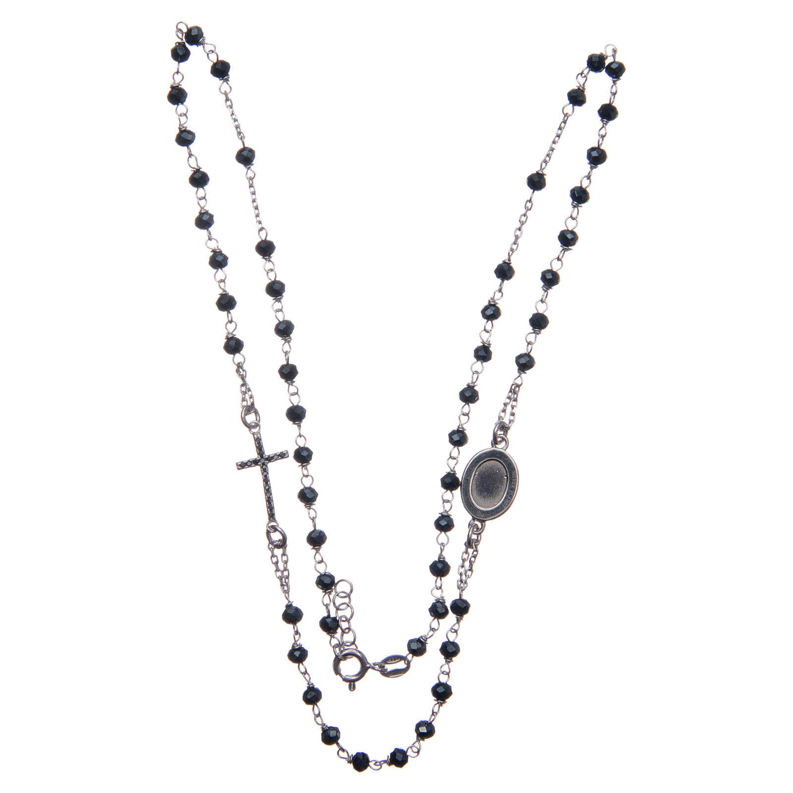 Rosario collar Padre Pío azul circones negros plata 925 4
