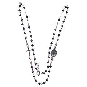 Rosario collar Padre Pío azul circones negros plata 925 s3