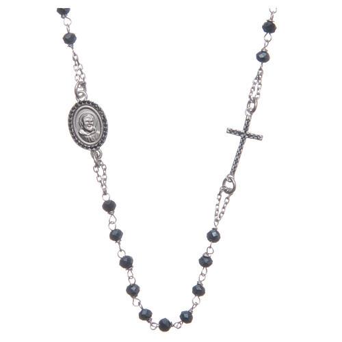 Rosario collar Padre Pío azul circones negros plata 925 1