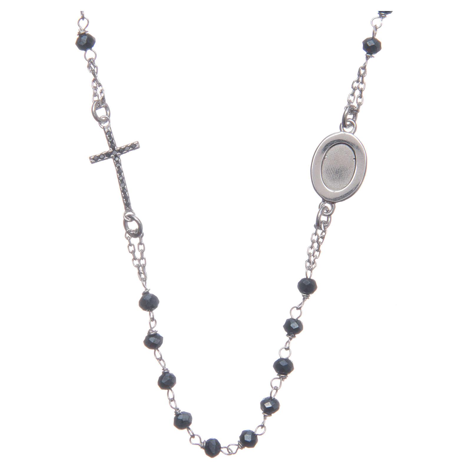 Rosario girocollo Padre Pio blu zirconi neri argento 925 4