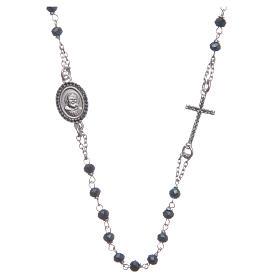 Rosario girocollo Padre Pio blu zirconi neri argento 925 s1