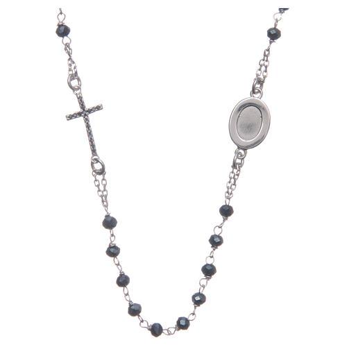 Rosario girocollo Padre Pio blu zirconi neri argento 925 2