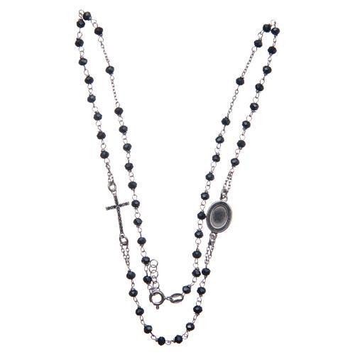 Rosario girocollo Padre Pio blu zirconi neri argento 925 3
