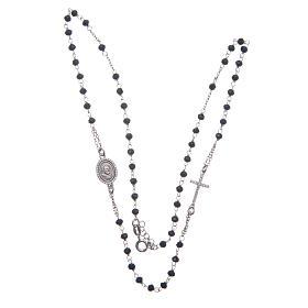 Rosario collar Padre Pío negro circones blancos plata 925 s3