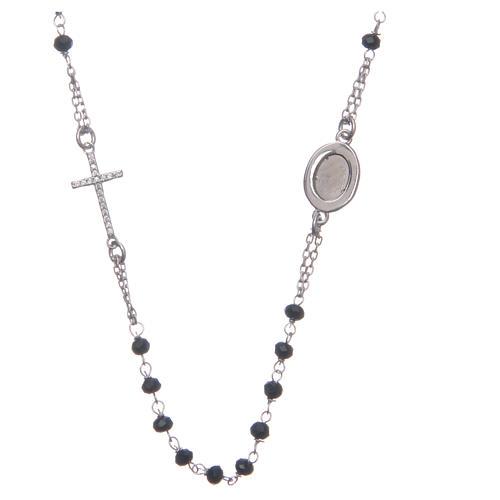 Rosario collar Padre Pío negro circones blancos plata 925 2