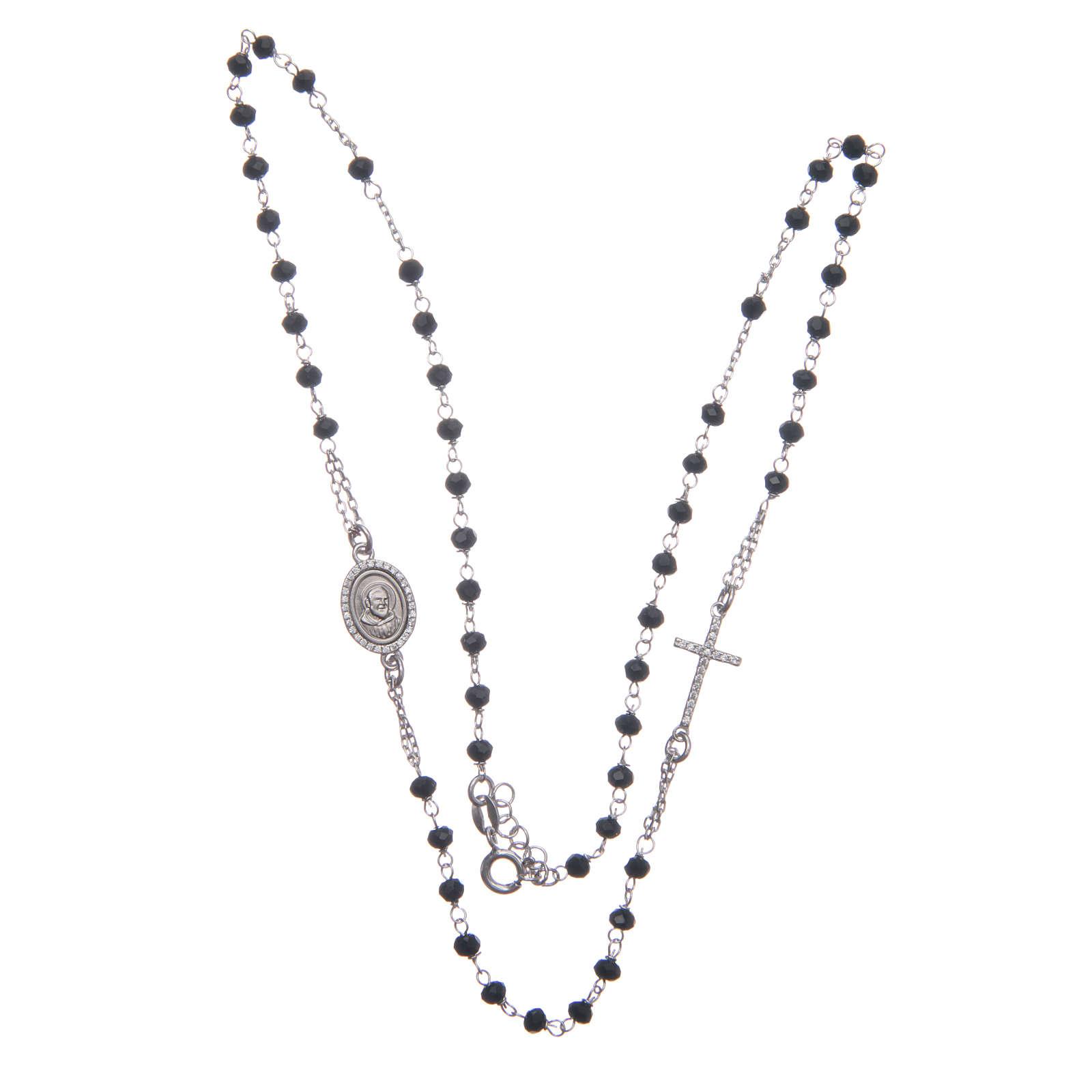 Rosario girocollo Padre Pio nero zirconi bianchi argento 925 4