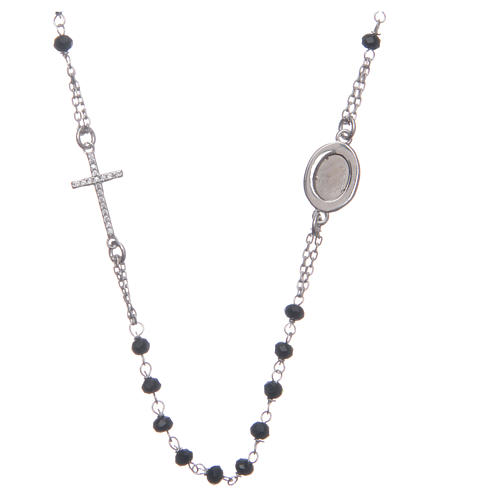 Rosario girocollo Padre Pio nero zirconi bianchi argento 925 2