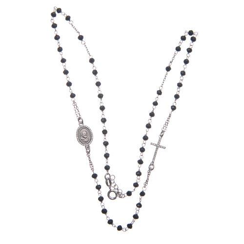 Rosario girocollo Padre Pio nero zirconi bianchi argento 925 3