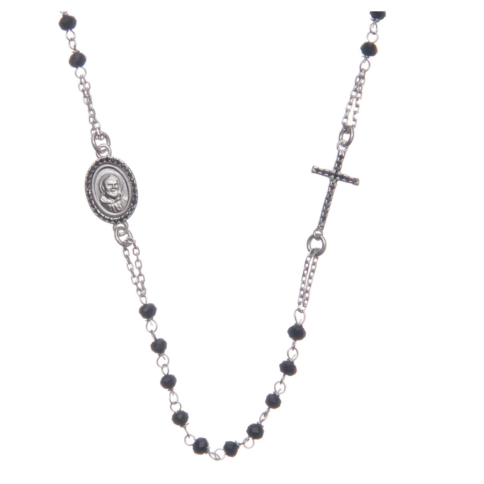 Rosario girocollo Padre Pio nero zirconi neri argento 925 4