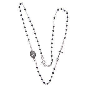 Rosario girocollo Padre Pio nero zirconi neri argento 925 s3