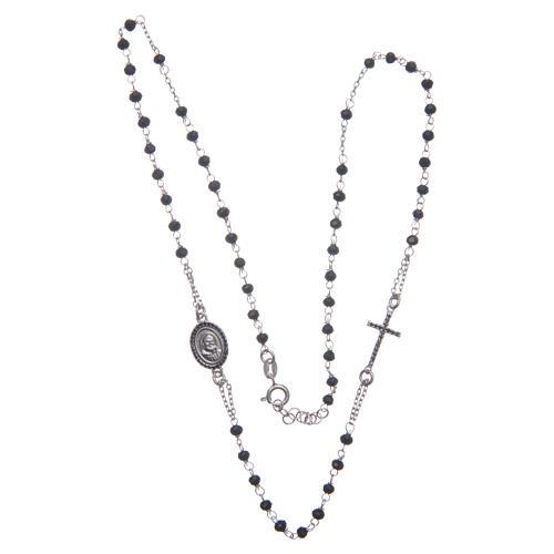 Rosario girocollo Padre Pio nero zirconi neri argento 925 3