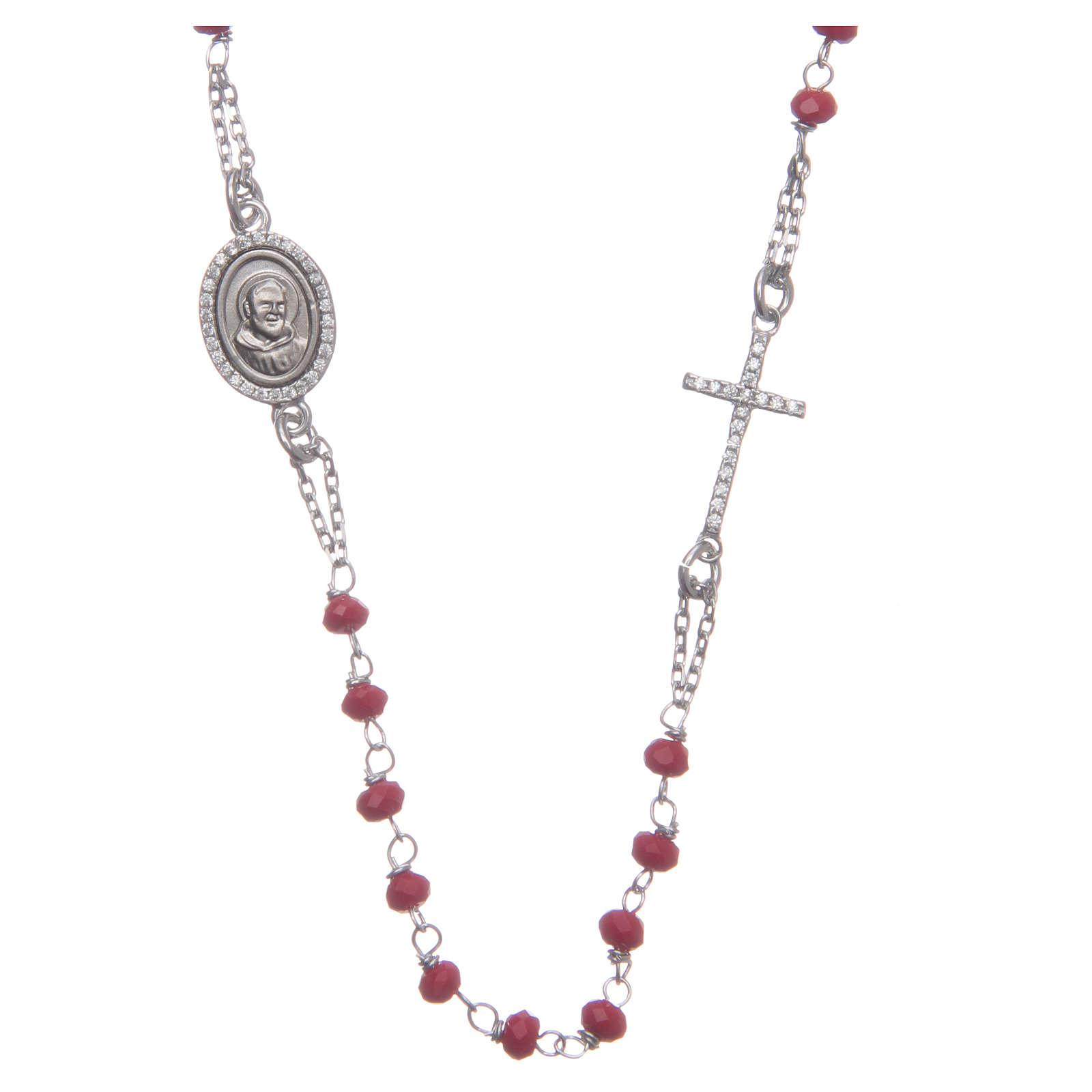 Rosario collar Padre Pío rojo circones blancos plata 925 4