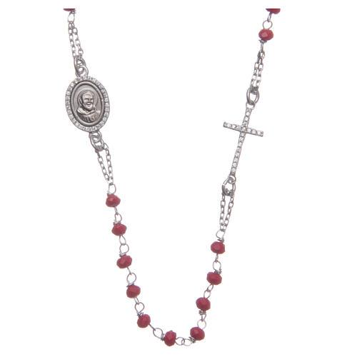 Rosario collar Padre Pío rojo circones blancos plata 925 1