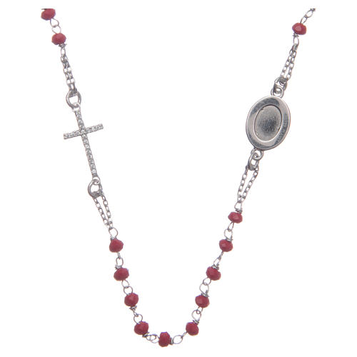 Rosario girocollo Padre Pio rosso zirconi bianchi argento 925 2