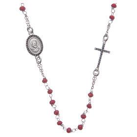 Rosario girocollo Padre Pio rosso zirconi neri argento 925 s1