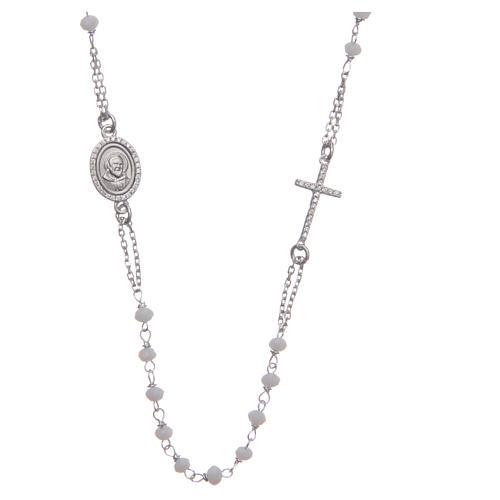 Rosario girocollo Padre Pio bianco zirconi bianchi argento 925 1