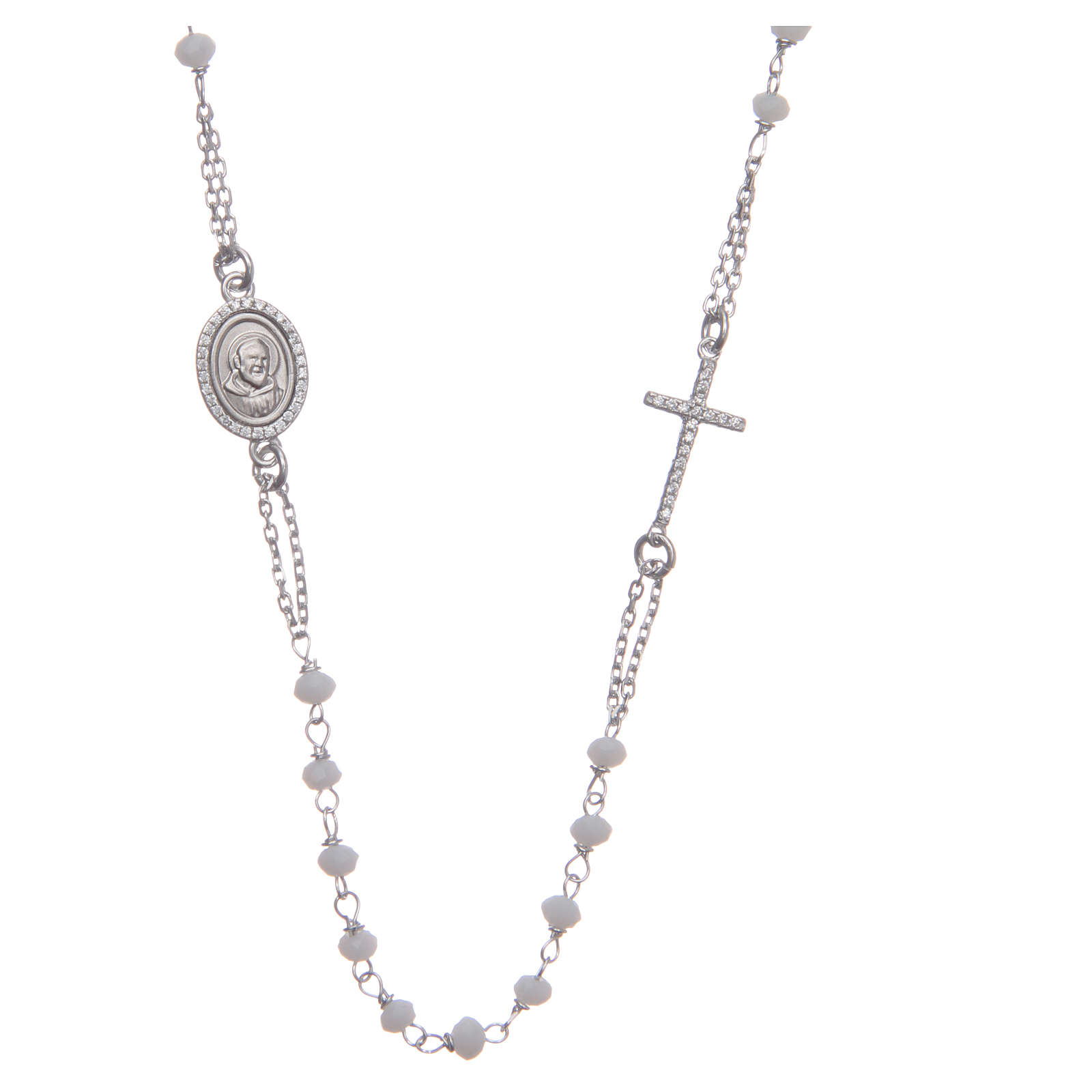 Rosary choker Saint Pio white with white zircons in 925 sterling silver 4