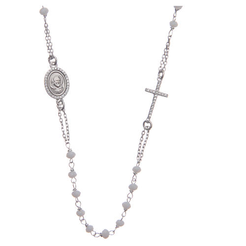 Rosary choker Saint Pio white with white zircons in 925 sterling silver 1