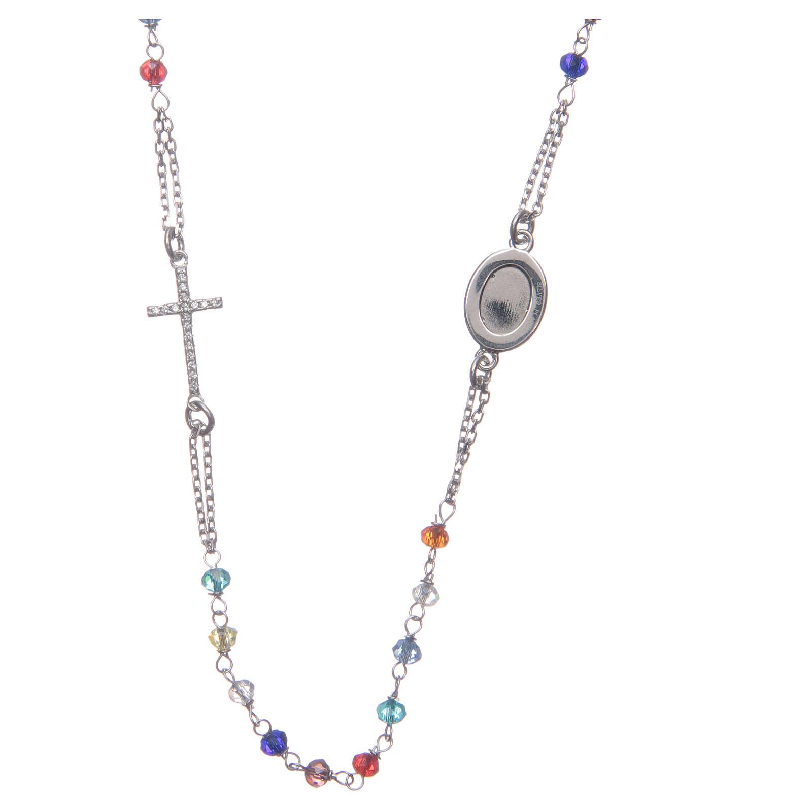 Rosario collar Padre Pío multicolor circones blancos plata 925 4